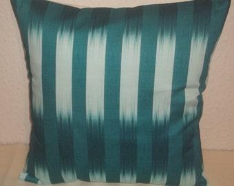 "Stylish Jade Stripes fabric cushion cover, pillow cover, 16"" x 16"" (41cm x 41cm)"