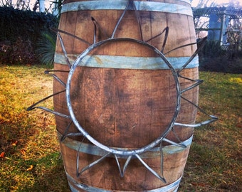 Sun Sculpture From Recycled Wine Barrel Metal Hoops - Large