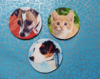 PERSONALISED PHOTO Fridge MAGNET 5cm Diameter *Any Photo of your choice* Pet, Child, Family Portrait, Mothers Day, Valentines, Gift