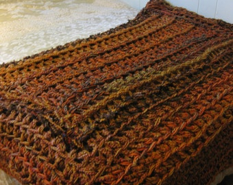 Blanket, crochet blanket, burnt orange and chocolate brown throw blanket, plush orange blanket, fall colors blanket