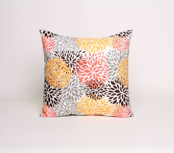 Items similar to Throw Pillow Orange Brown and Gray Pillow 16x16 Cushion Cover in Orange Brown ...