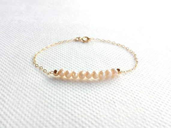 Bracelet Plaqué Or et Perles Rose Beige