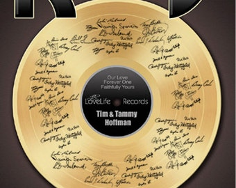 Anniversary guestbook poster – Anniversary Gift - Gold Record - Wedding Gift idea – 50 Anniversary Poster- Wedding poster - Weddings -record