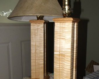 Curly Maple and Red Oak Lamps