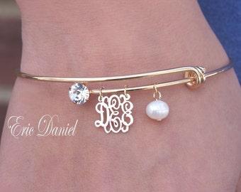 Personalized Monogram Bangle, Choose Your Initials, Perosanlized Bracelet, Gold Bangle, Initials Bangle, Yellow Gold