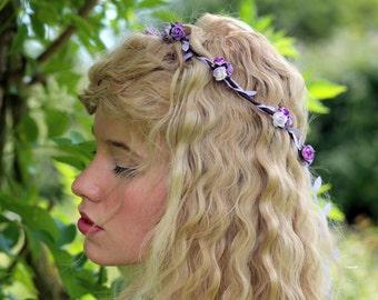 Rose Flower Crown, Purple Flower Crown, Festival Crown, Festival Garland, Rose Crown, Festival Flower Crown, Hair Garland, Hair Wreath