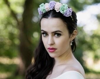 Pastel Rose Crown, Rose Crown, Festival Crown, Festival Garland, Pastel Flower Crown, Rose Headband, Boho Headband