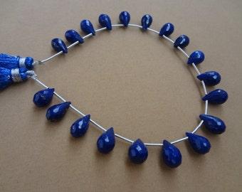 natural royal blue lapiz briolette drops 8 to 9 mm 25 pcs 9 inch