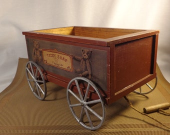 Teddy Bear Soap Wagon ~  On Rolling Wheels