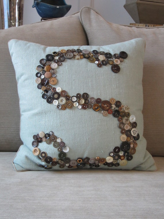 Home Decor Monogram Personalized Pillow, Custom Personalized Pillow, Monogram Pillow, Letter Pillow, Letter Home Decor, Custom Button Pillow