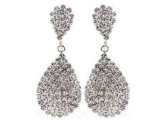 Bridesmaid Earrings, Lavish n Lovely teardrop rhinestone,
