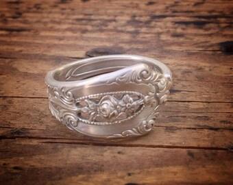 1934 Demitasse Rose Point Sterling Spoon Ring