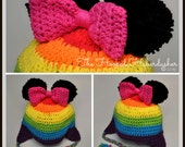 RAINBOW Disney Character crocheted Beanie hat with pom-pom mouse ears, braids, ear flaps, bow, S/M/L sized for Toddler to Adult, photo prop