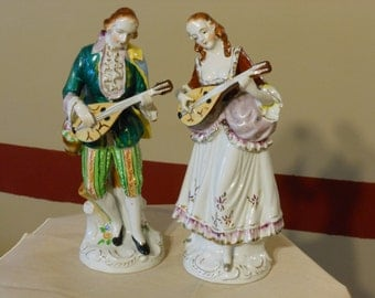 Porcelain 10 inch Female and Male Mandolin Players