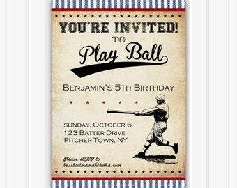 Vintage Baseball Invitation, INSTANT DOWNLOAD, Printable Baseball Party, Rustic, Retro Pin Stripe, Boy Birthday, Custom Invitaiton