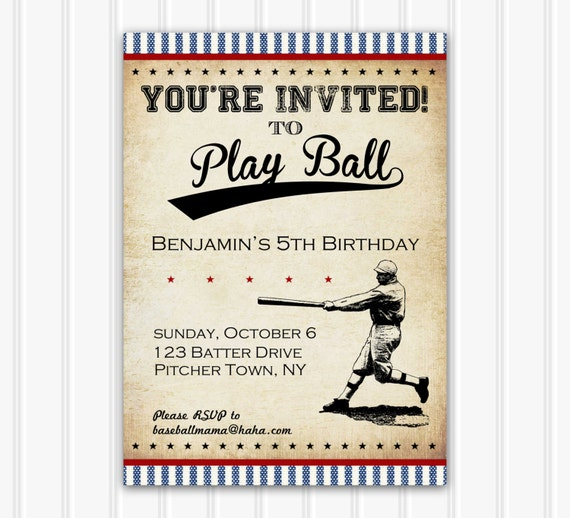 Vintage Baseball Birthday Invitations: Vintage Baseball Invitation INSTANT DOWNLOAD Printable