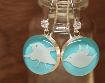 Starbucks Swallow earrings with sterling silver, resin and cubic zirconia. Made from recycled, upcycled  gift cards.