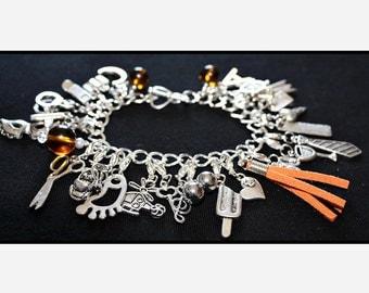 Orange Fifty Shades of Grey Charms Bracelet