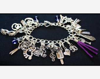 Purple Fifty Shades of Grey Charms Bracelet