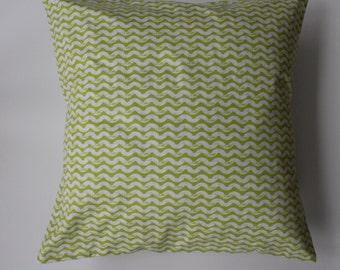 "Pillow cover -  Ty Pennington chartreuse ""wave"" print - fits a 20x20 pillow -100% Cotton"