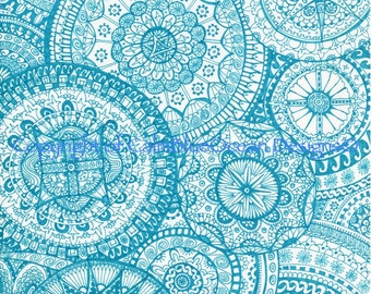 Intricate Blue Paisley Pattern. Unframed Original. 29.5 x 41cms.