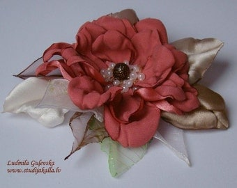 Handmade coral satin flower brooch, flower clip & pin, embroidered flower