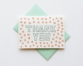 Block Letter THANK YOU CARD in mint and coral - Notecard and Envelope