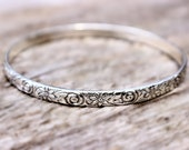 Sterling Silver Bracelet, Stacking Bangle Bracelet, Sterling Silver Bangle Swirl & Flowers