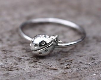 Ladybug Ring, Lady Bug Jewelry, Sterling Silver Stacking Ring
