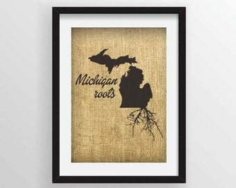 Michigan Roots on Actual Burlap Fabric