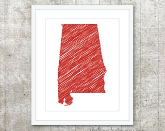 State of Alabama Art Print - Custom State Poster - Red - Modern Wall Art