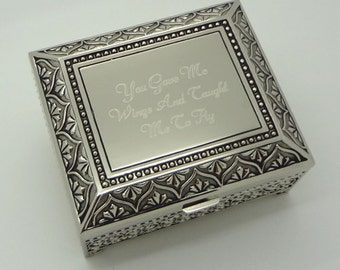 Personalized jewelry box - 4 Inch Antique jewelry box - Engraved keepsake box - Silver trinket box