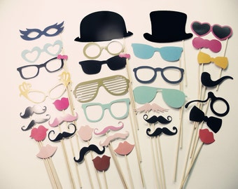 Photo Booth Props On a Stick - PhotoBooth Props - Party Props Set of 36 - Smoking Pipe - Glasses - Mustache - Hats - Bow Tie