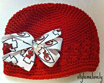 Kansas City Chiefs Baby Girl Boutique Bow Crocheted Hat