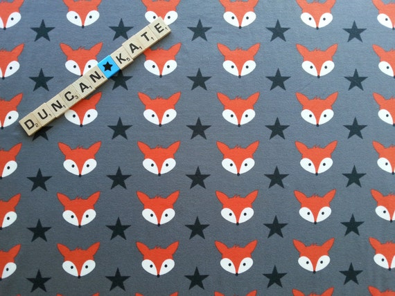 Mr fox in grey organic cotton knit jersey fabric euro knit for Fox print fabric