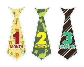Printable Monthly Shirt Stickers - Necktie - Boy Baby Shower Gift - Bodysuit Stickers