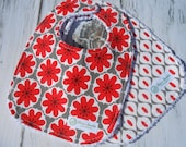 Set of 2 Bibs -Red and Gray Mod Floral and Mod Harlequin - Mod Studio by Riley Blake Designs