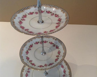 Triple Tier China Stand, Tea Stand, Jewelry Stand: No. 258 presented by Country Rose de Blancheville.  A lovely creation just for you.