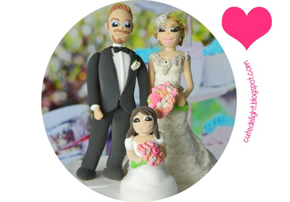 Wedding Cake Topper Bride Groom Little Girl Cake Topper