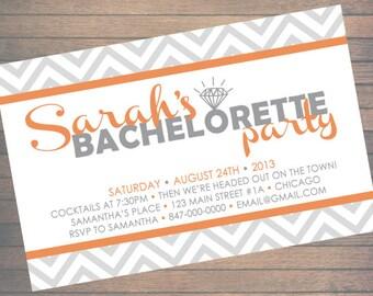 Bachelorette Party Invitation | Gray & Orange Chevron | Custom Printable File