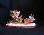 Christmas Santa Mice an OOAK Mixed Media Sculpture