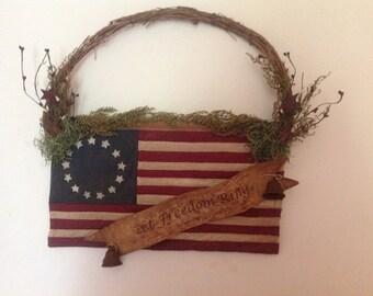 Primitive American Flag Hanger