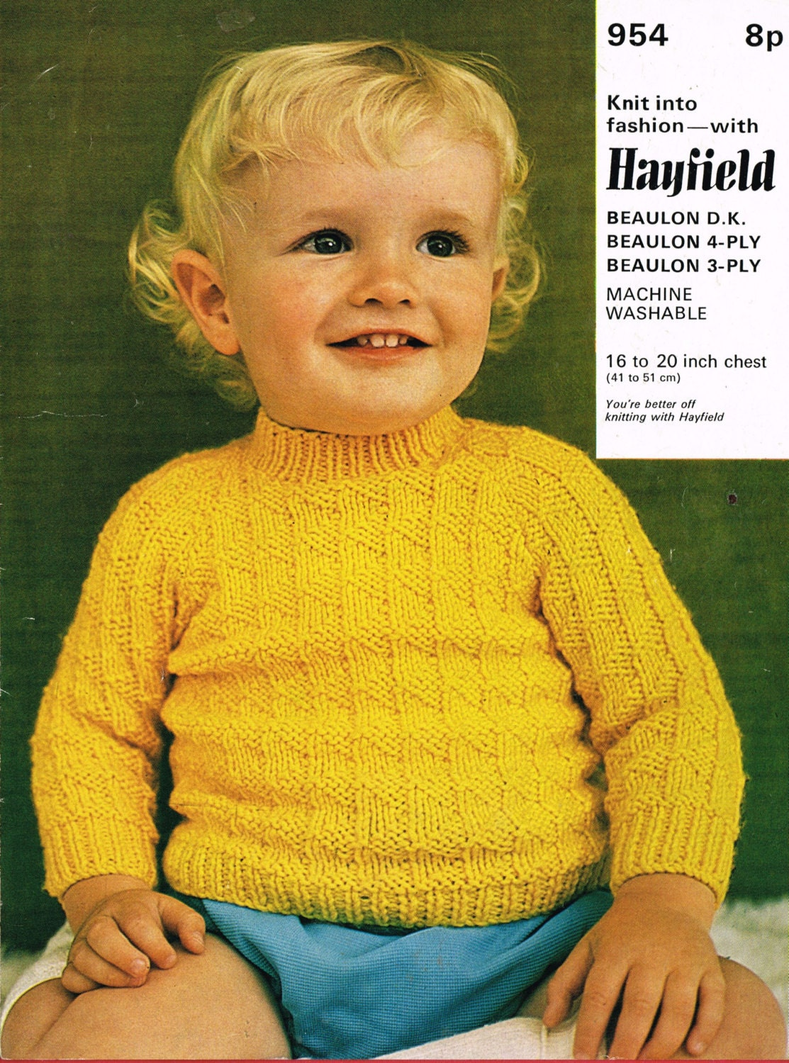Hayfield Knitting Patterns For Babies : HAYFIELD 954 baby jumper vintage knitting pattern PDF instant