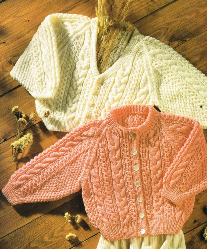Baby Aran Style Cardigan Vintage Knitting Pattern Pdf Instant Download From Ellisadine On Etsy