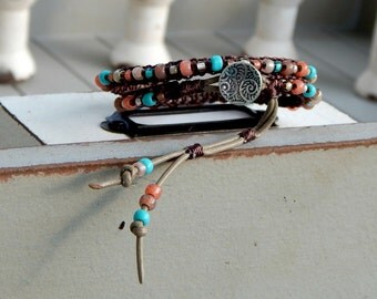 Coral Tan and Aqua macrame ARM PARTY, leather stacking bracelet, seed bead and leather boho bracelet, MTO