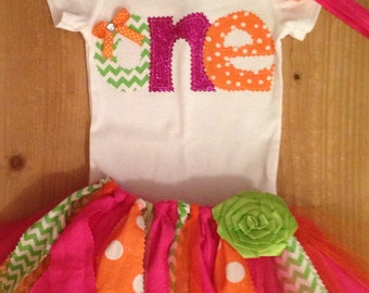 "Hot Pink, Lime, and Orange 1st Birthday ""One"" Tutu Outfit"