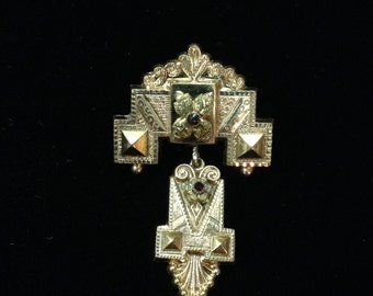 Antique Victorian Gold Plated Brooch with Red Rhinestones