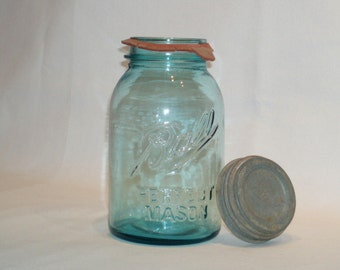 Vintage Ball Perfect Mason Quart Round  10 Blue Glass Canning Jar with Zinc Ball Lid. mvpc 63