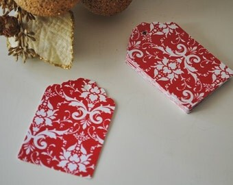 Christmas gift tags,30 Red damask gift tags,damask paper tags ,bridal shower, favor tags,wedding tags,red floral gift tags
