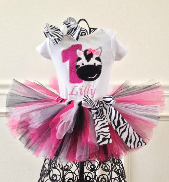 Pink And Black Zebra 1st Birthday Tutu Outfit